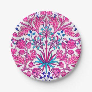 Plato De Papel Impresión del jacinto de William Morris, rosa del