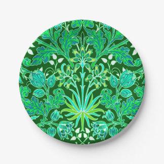 Plato De Papel Impresión del jacinto de William Morris, verde