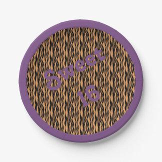 Plato De Papel Impresión del tigre del dulce 16 con la frontera