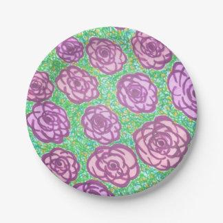 Plato De Papel Impresión floral de muy buen gusto de la rosaleda