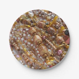 Plato De Papel Impresión natural de las gotas de Earthtones de