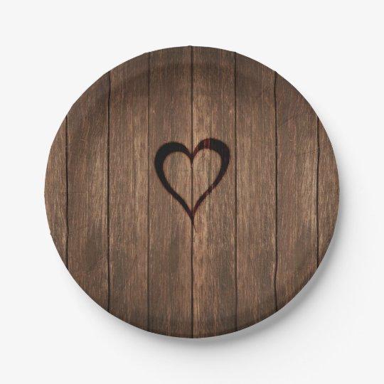 Plato De Papel Impresión quemada madera rústica del corazón