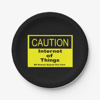 Plato De Papel Internet de la señal de peligro de la precaución