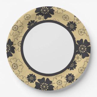 Plato De Papel Japón. Flores florales amarillas