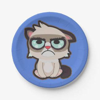 Plato De Papel Kawaii, diversión y placa de papel del gato grimmy