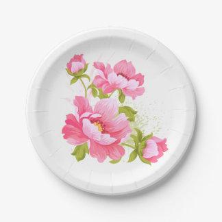 Plato De Papel La acuarela rosada floral del Peony florece al