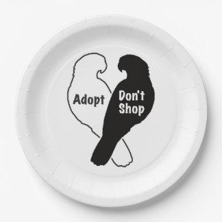 Plato De Papel La adopción del rescate del loro no hace compras
