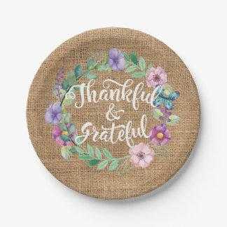 Plato De Papel La arpillera agradecida y agradecida florece