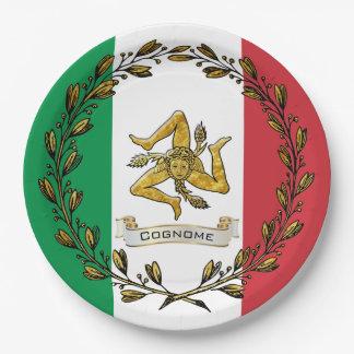 Plato De Papel La bandera verde oliva siciliana de la guirnalda
