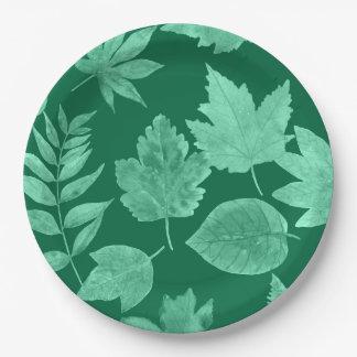 Plato De Papel La caída se va en el verde esmeralda, decoración