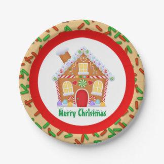 Plato De Papel La casa de pan de jengibre festiva del navidad