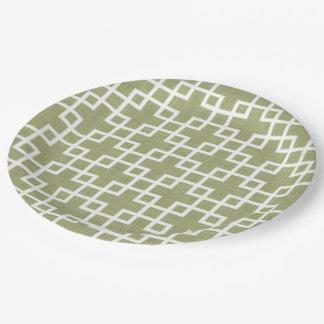 Plato De Papel La moda retra blanca ajusta el modelo en verde