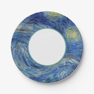 Plato De Papel La noche estrellada de Van Gogh
