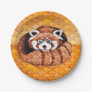 Plato De Papel La panda roja refiere cubismo anaranjado