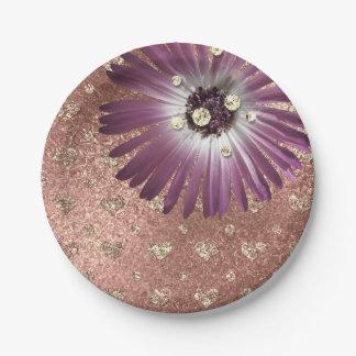 Plato De Papel La púrpura de la flor se ruboriza vidrio subió los