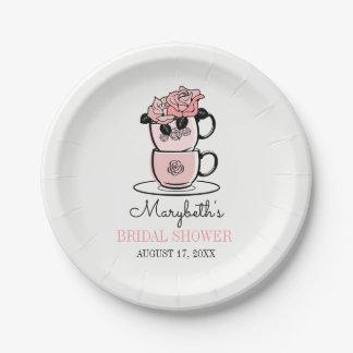 Plato De Papel La taza de té del té florece las placas de papel
