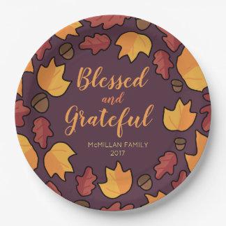 Plato De Papel Las hojas de la caída de la acción de gracias
