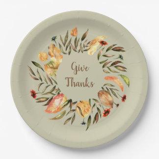 Plato De Papel Las hojas de otoño de la acción de gracias