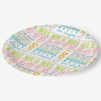 Plato De Papel ¡Las placas nupciales del fiesta de ducha del