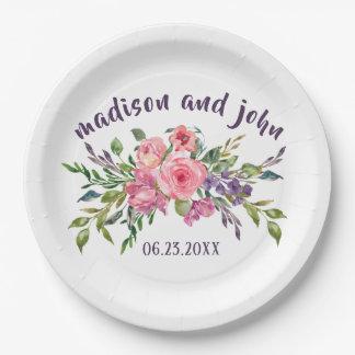 Plato De Papel Lavanda de la novia y del novio y ramo floral