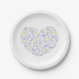 Plato De Papel Lavanda y flores amarillas - boda de Purple Heart