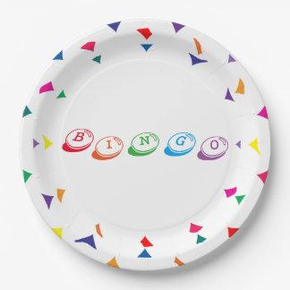 Plato De Papel Letras coloridas del BINGO