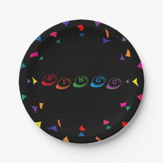 Plato De Papel Letras coloridas del BINGO en fondo negro