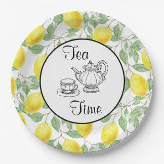 Plato De Papel Limones amarillos con tiempo verde del té del