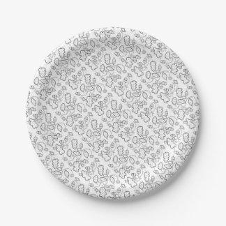 Plato De Papel Línea diseño de las gemas de la bellota del arte