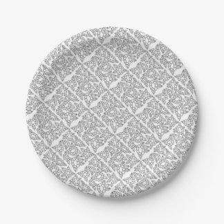 Plato De Papel Línea floral diseño del arte