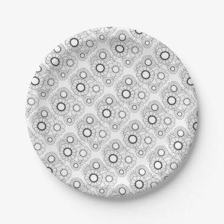 Plato De Papel Línea retra diseño de la flor del arte