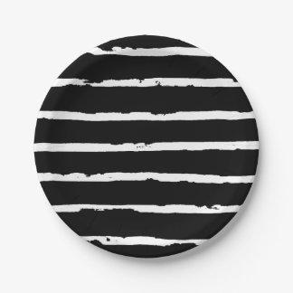 Plato De Papel Líneas modernas blancos y negros elegantes modelo