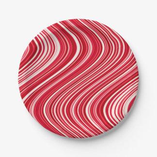 Plato De Papel Líneas onduladas en rojo y blanco