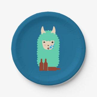 Plato De Papel Llama borracha divertida Emoji