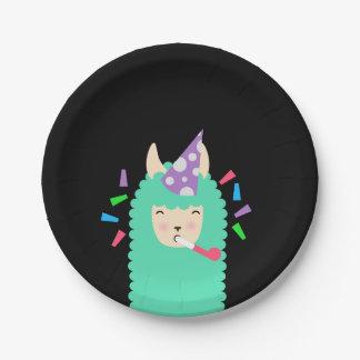 Plato De Papel Llama de Emoji del fiesta de la diversión