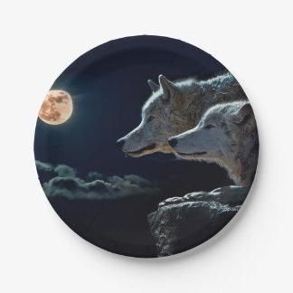 Plato De Papel Lobos del lobo que gritan en la Luna Llena