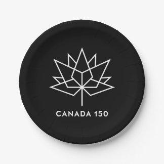 Plato De Papel Logotipo del funcionario de Canadá 150 - blanco y