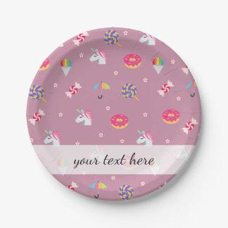 Plato De Papel lollipops rosados lindos de las flores de los