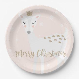 Plato De Papel Los ciervos lindos el   se ruborizan navidad del