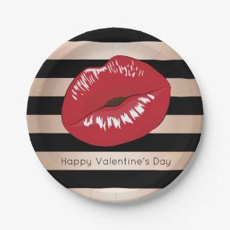 Plato De Papel los labios rojos elegantes subió el modelo de las