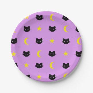 Plato De Papel luna del gato del gatito y placas de papel de las