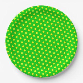 Plato De Papel Lunares amarillos felices y brillantes en verde