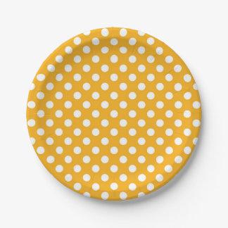 Plato De Papel Lunares amarillos y blancos del girasol brillante