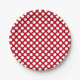 Plato De Papel lunares blancos en la placa de papel roja
