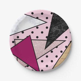 Plato De Papel Madera color de rosa geométrica elegante del