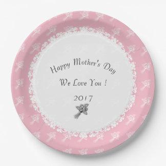 Plato De Papel Madre-Día--Anniversary-Template_Pink-White-Rose