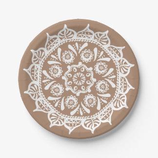 Plato De Papel Mandala de la nuez moscada moscada