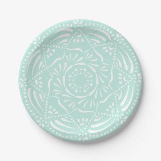 Plato De Papel Mandala del vidrio del mar