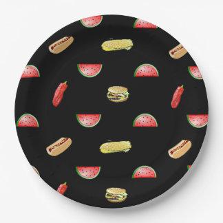 Plato De Papel Mantel negro de los Veggies y de las hamburguesas