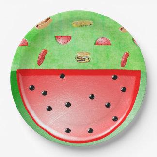 Plato De Papel Mantel verde de los Veggies y de las hamburguesas
